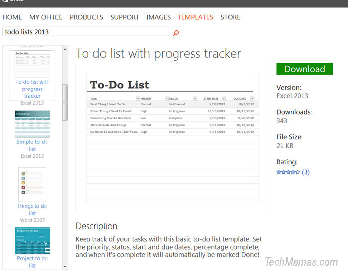 Microsoft Excel Office 365 Home Premium To do list