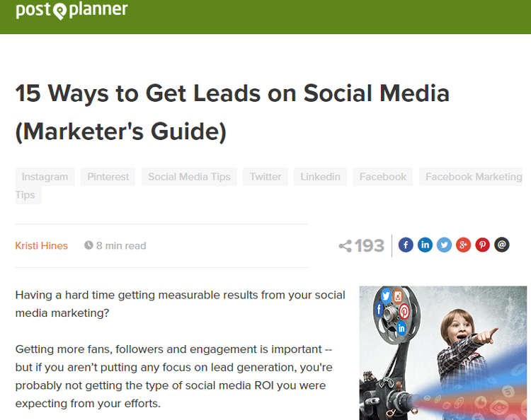 Post Planner BACK TO BLOG 15 Ways to Get Leads on Social Media